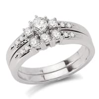 Avanti 14k White Gold 1/2ct TDW Diamond 3-stone Bridal Ring Set