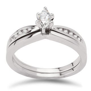 Avanti 14k White Gold 1/3ct TDW Diamond Marquise Center Bridal Ring Set (G-H, SI1-SI2)