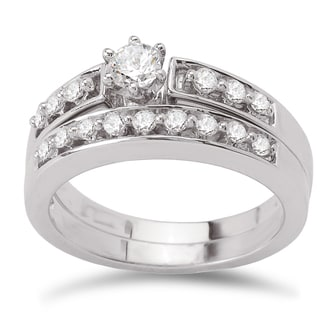 Avanti 14k White Gold 1/2ct TDW Diamond Classic Bridal Ring Set (G-H, SI1-SI2)