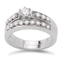 Avanti 14k White Gold 1/2ct TDW Diamond Classic Bridal Ring Set