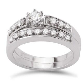 Avanti 14k White Gold 1/2ct TDW Diamond Classic Bridal Ring Set