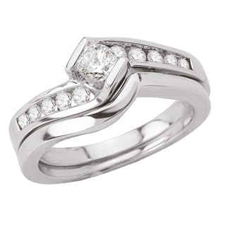 Avanti 14k White Gold 1/2ct TDW Diamond Bypass Channel Set Bridal Ring Set (G-H, SI1-SI2)
