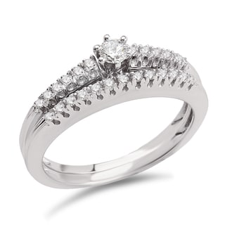 Avanti 14k White Gold 1/4ct TDW Diamond Classic Bridal Ring Set (G-H, SI1-SI2)