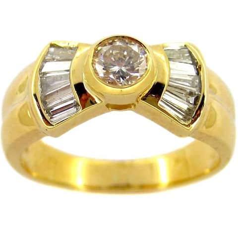 Kabella 18k Yellow Gold 4/5ct TDW Round Diamond Bow Ring (H-I. SI1-SI2)