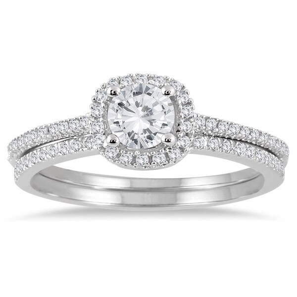 Marquee Jewels 14k White Gold 7/8ct TDW Halo Diamond Bridal Set