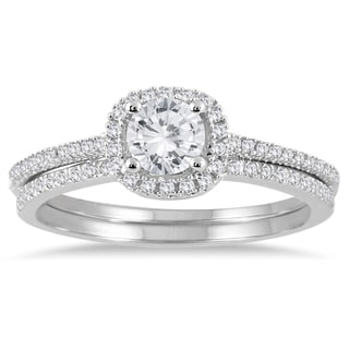 Marquee Jewels 14k White Gold 7/8ct TDW Halo Diamond Bridal Set (I-J, I1-I2)
