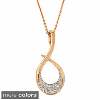 Kabella 14k Rose Gold 1/6 ct TDW Diamond Accent Swirl Necklace (G-H, SI1-SI2)