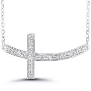 Sterling Silver Diamond Accent Sideways Curved Cross Necklace