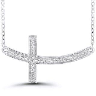 "Caressa Sterling Silver 1/10CT. T. W Diamond Sideways Curved Cross Necklace- 16"" (I-J, I2-I3)"