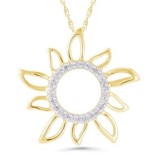 10k Yellow Gold Diamond Accent Sun Necklace