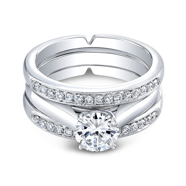 18k White Gold Triple Cathedral 3/8ct TDW Diamond and Cubic Zirconia Bridal Ring Set