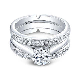 18k White Gold Triple Cathedral 3/8ct TDW Diamond and Cubic Zirconia Bridal Ring Set (H-I, I1-I2)