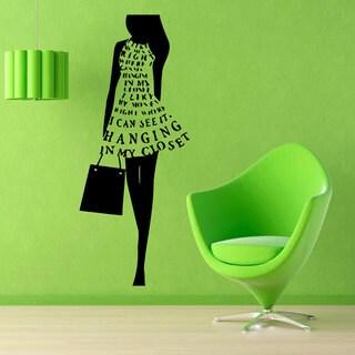 Fashion Stylish Shopping Girl Black Vinyl Sticker Wall Art
