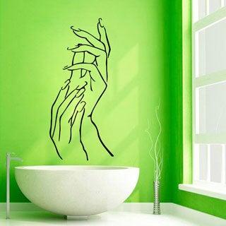 Manicure Nail Salon Decor Black Sticker Vinyl Wall Art (2...