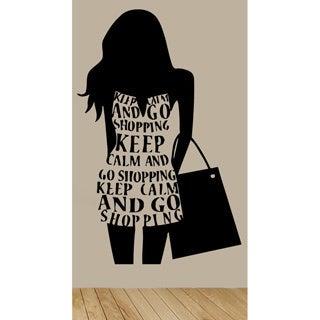 Fashion Stylish Shopping Girl Black Sticker Vinyl Wall Art