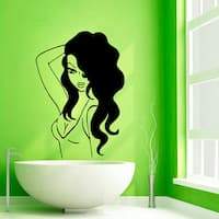 Girl Face Beauty Spa Hair Salon Black Vinyl Sticker Wall Art Décor