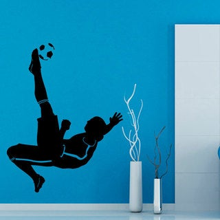 Soccer Bicycle Kick Insporational Black Sticker Vinyl Wall Art