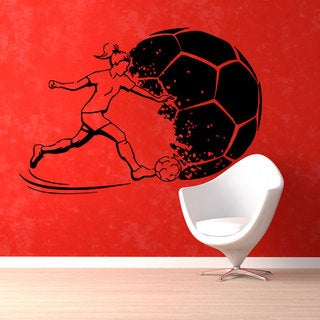 Soccer Girl Insporational Black Sticker Vinyl Wall Art