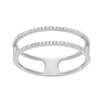 14k White Gold 1/4ct TDW Diamond 2-row Stackable Ring (G-H, I1-I2)