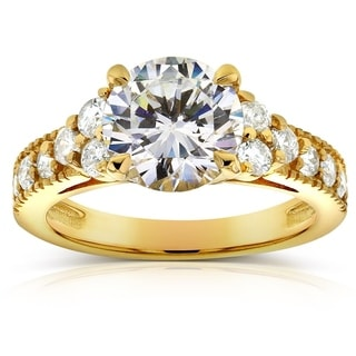 Annello by Kobelli 14k Yellow Gold 2 1/2ct TGW Moissanite and Diamond Antique Engagement Ring