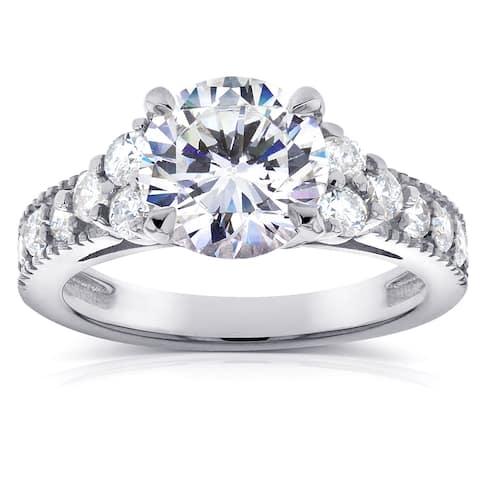 Annello by Kobelli 14k White Gold Moissanite and 3/5ct TDW Antique Diamond Engagement Ring