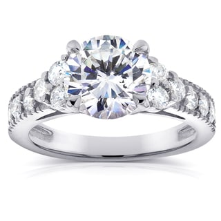 Annello by Kobelli 14k White Gold Moissanite and 3/5ct TDW Antique Diamond Engagement Ring