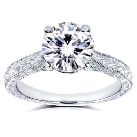 Annello by Kobelli 14k White Gold 1 1/2ct TGW Round Moissanite and Diamond Accent Vintage Engagement Ring (GH/VS, GH/I)