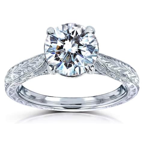 Annello by Kobelli 14k White Gold 1 1/2ct TGW Round Moissanite and Diamond Accent Vintage Engagement Ring (HI/VS, GH/I)