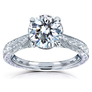 Annello 14k White Gold 1 1/2ct TGW Moissanite and Diamond Antique Engraved Engagement Ring (G-H, I1-I2)