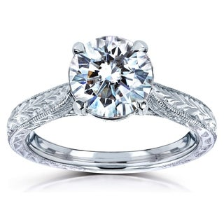 Annello by Kobelli 14k White Gold 1 1/2ct TGW Moissanite and Diamond Vintage Engraved Engagement Ring