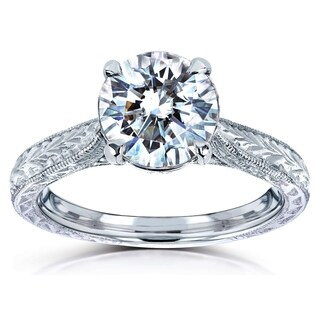 Annello by Kobelli 14k White Gold 1 1/2ct TGW Round Moissanite and Diamond Accent Vintage Engagement Ring (HI/VS, GH/I)