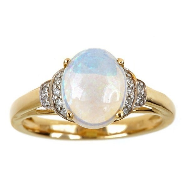 Anika and August 14k Yellow Gold Oval-cut Australian Opal and 1/9ct TDW Diamond Ring (G-H, I1-I2)