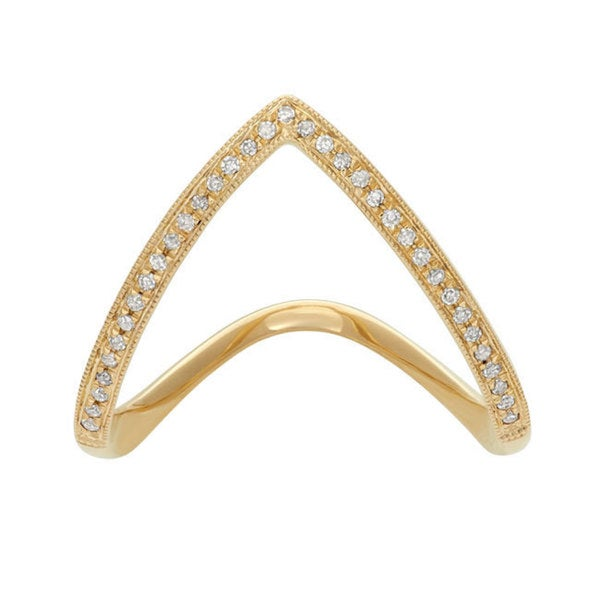 14k Yellow Gold 1/10ct TDW Diamond Chevron Fashion Ring (G-H, I1-I2)
