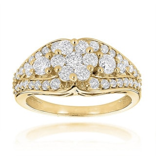 Luxurman Ladies 14k Gold 1 1/2ct TDW Diamond Cluster Ring (H-I, SI1-SI2)