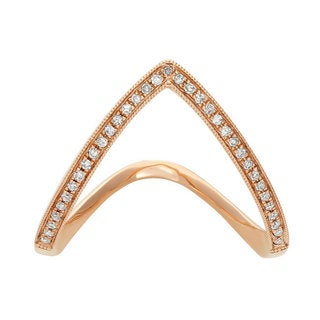 14k Rose Gold 1/10ct TDW Diamond Chevron Fashion Ring