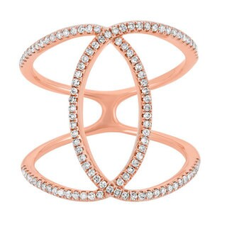 14k Rose Gold 2/5ct TDW Diamond Double 'C' Fashion Ring (G-H, I1-I2)