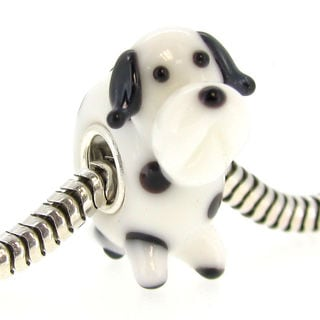 Queenberry Sterling Silver Dalmatian Dog Glass Murano Lampwork European Bead Charm