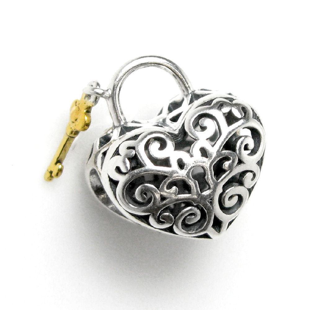 Queenberry Sterling Silver Goldtone Key Filigree Love Loc...