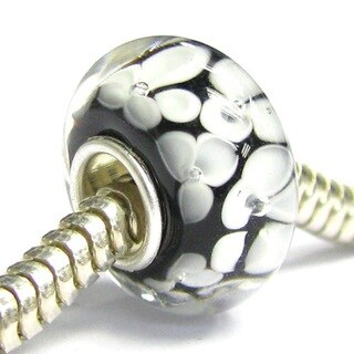 Queenberry Sterling Silver Round Flower Black Glass European Bead Charm
