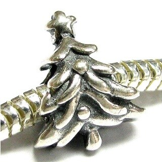 Queenberry Sterling Silver Christmas Tree Star European Bead Charm