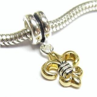 Queenberry Gold Overlay Sterling Silver Fleur-de-lis Dangle European Bead Charm