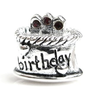 Queenberry Sterling Silver Janauary Birthday Cake with Garnet Red Cubic Zirconia European Bead Charm