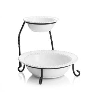 Bianca Bead White 2-tier Server with Stand