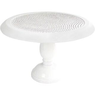 American Atelier Bianca Dots Pedestal Cake Plate