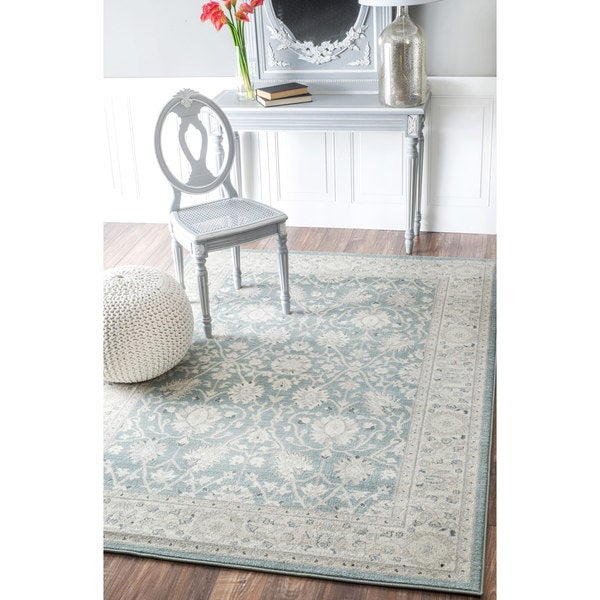 Shop Afghan Panel Antique Cream Persian New Zealand Wool: NuLOOM Traditional Persian Vintage Blue Rug (7'10 X 11