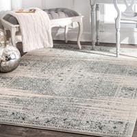 Maison Rouge Bahar Traditional Vintage Abstract Blue Area Rug - 7'10 x 11'