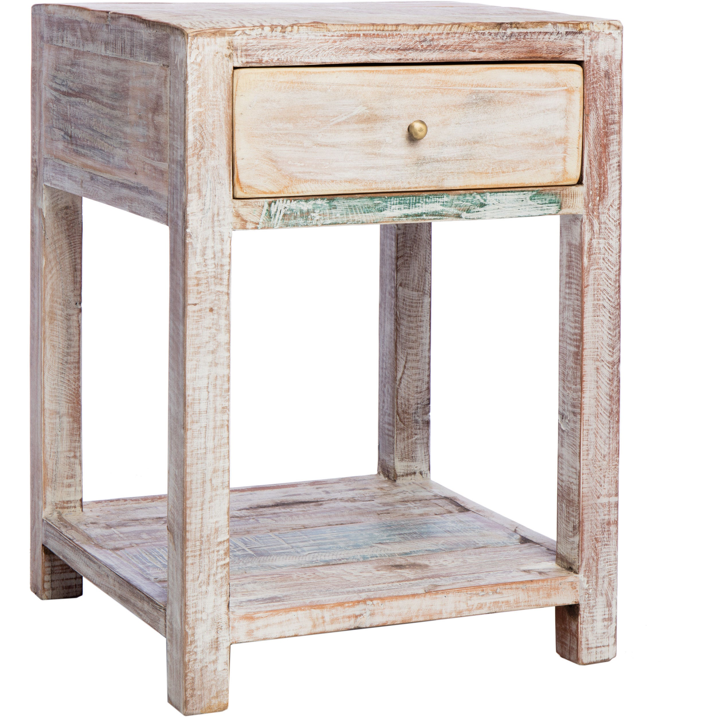 Side Table India.Cg Sparks Stripped Teak End Table India