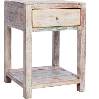 Handmade Stripped Teak End Table (India)