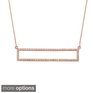 14k Gold 1/3ct TDW Diamond Open Rectangle Trapeze Necklace (G-H, I1-I2)