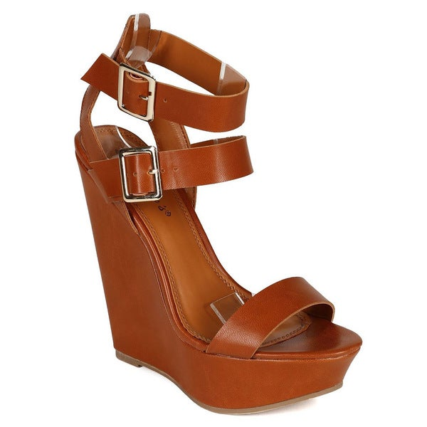 76fe4cdf6bf Shop Breckelle's VALERY-11 Women's Double Ankle Strap Wedges - Free ...